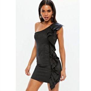 Black Faux Suede Ruffle Bodycon Dress 6/8